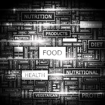 FOOD. Word cloud illustration. Tag cloud concept collage.