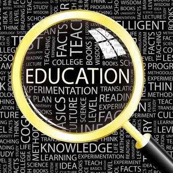 EDUCATION. Background concept wordcloud illustration. Print concept word cloud. Graphic collage.