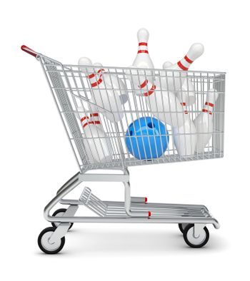 Skittle and bowling ball in shopping cart