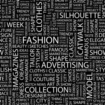 FASHION. Seamless pattern. Word cloud illustration.