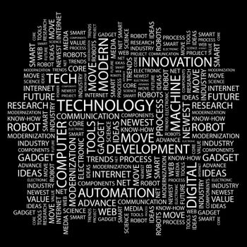 TECHNOLOGY. Word cloud illustration. Tag cloud concept collage.
