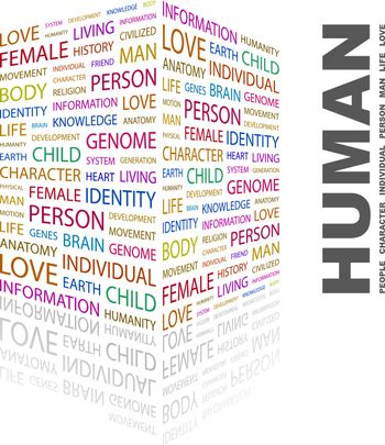 HUMAN. Word cloud illustration. Tag cloud concept collage.