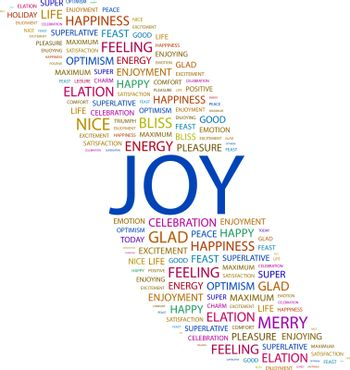 JOY. Concept illustration. Graphic tag collection. Wordcloud collage.