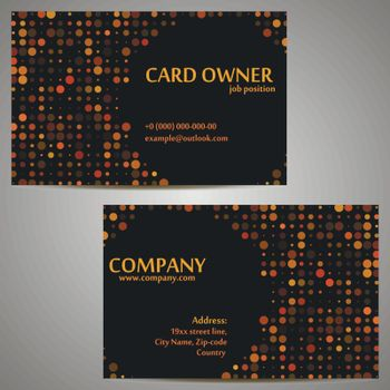 Dark business card with orange circle dinamic shape corporate template