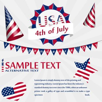 Independence Day USA Card with monogram, party hat, flag, star and sample text