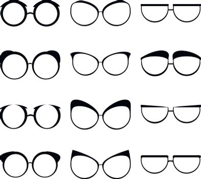 Glasses set black silhouette creative man woman