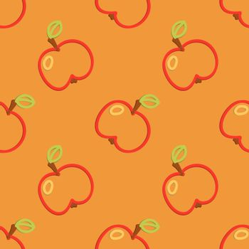 Colored Apple Seamless Pattern Kid's Style Hand Drawn