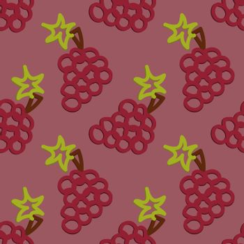 Colored Grape Seamless Pattern Kid's Style Hand Drawn