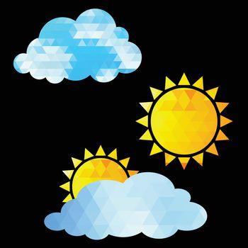 Weather Icon set on black background. Vector illustration