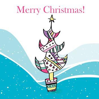 Illustration of a stylized Christmas tree.
