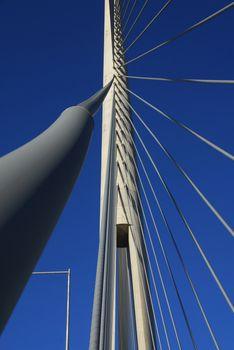 Details of Ada bridge tower in Belgrade, Serbia