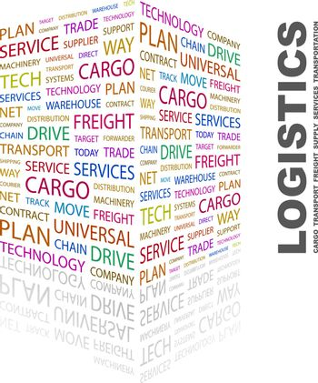 LOGISTICS. Concept illustration. Graphic tag collection. Wordcloud collage.