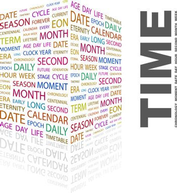 TIME. Word cloud illustration. Tag cloud concept collage.
