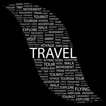 TRAVEL. Background concept wordcloud illustration. Print concept word cloud. Graphic collage.