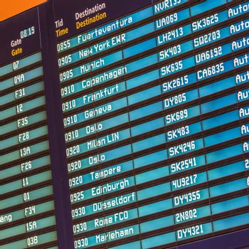 Flight departures board.