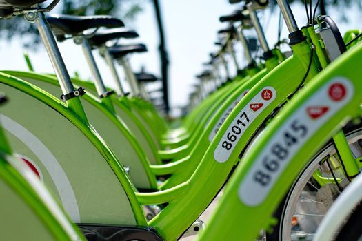"""BUDAPEST, HUNGARY - JUNE 01 2014:New Budapest bike hire called """"BUBI"""".Many cities around the world have bicycle sharing systems or community bicycle programs."""