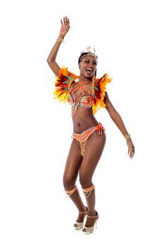 African woman dancing samba