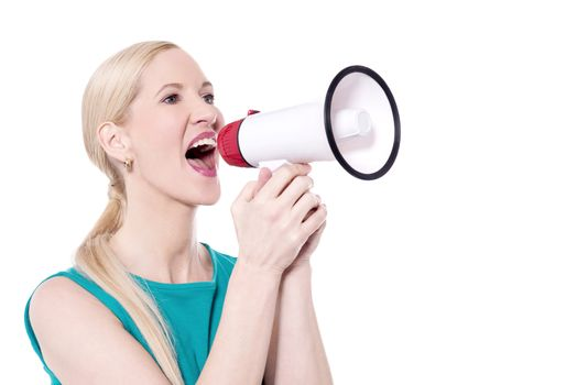 Excite woman shout with megaphone