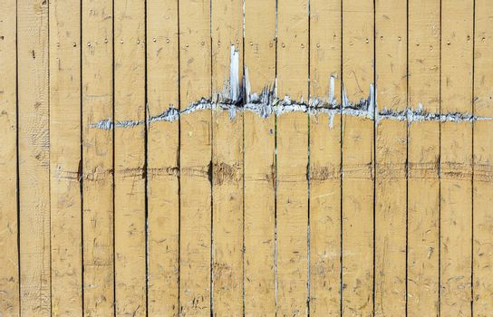 Vintage Yellow Weathered Wooden Plank Door Texture