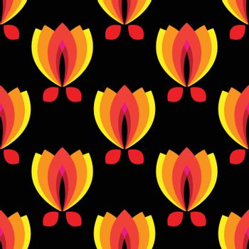 floral pattern with petal on a black background