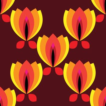 floral pattern with petal on a brown background
