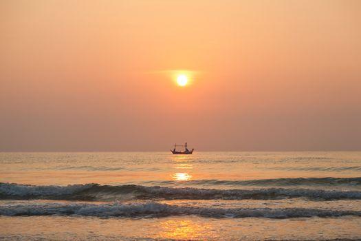 Morning fishing boat Sunrise in the morning The fishing boat out fishing in the morning.