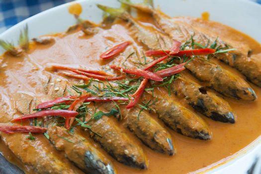 Fish soup with spicy peppers and spices are composed primarily.