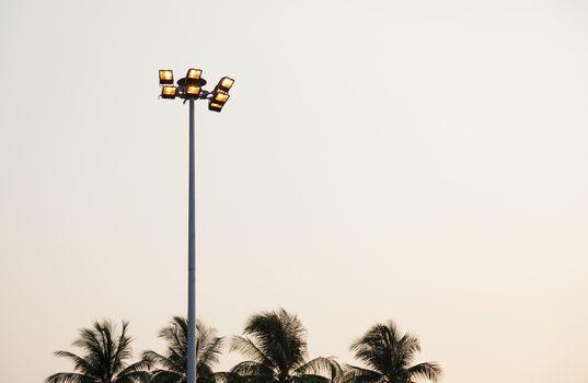 lantern on top of poles Bright lantern mounted on poles.