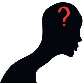 Human face  with question mark.