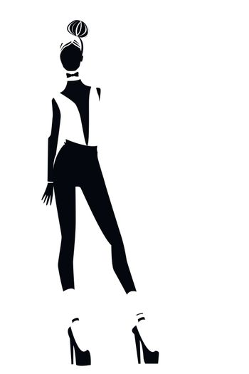 Silhouettes of one girls