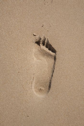 right footstep on sand