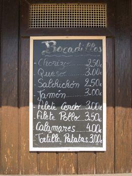 spanish sandwiches menu
