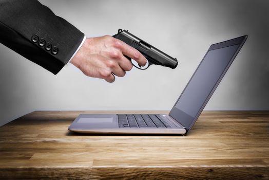 Shoot at laptop