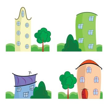 Set of colorful cartoon houses on white background