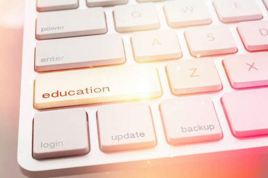 Light from EDUCATION button of computer keyboard