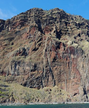 Steep weathered cliff near Cabo Girao on Madeira island
