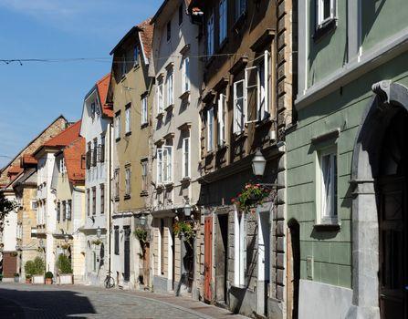 Old street in Ljubljana, Slovenia, converging in perspective