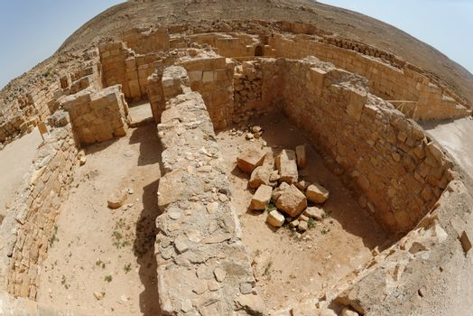 Fisheye view of archaeological excavations of ancient Mamshit town near the Dead sea in Israel
