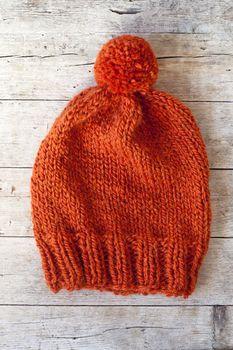wool orange pompom hat