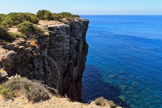 Mezzaluna cliff in San Pietro isle