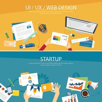 web design and startup concept flat design