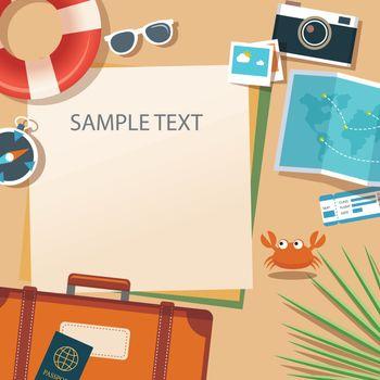 summer and travel flat design banner template