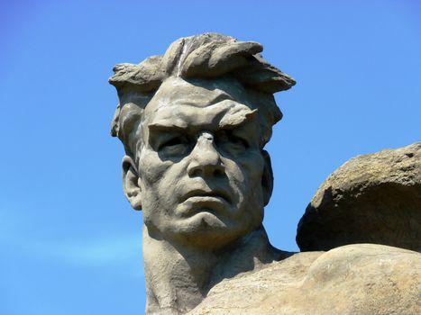 "The monument head ""Soldier liberator"" on Mamayev Kurgan in Volgograd"