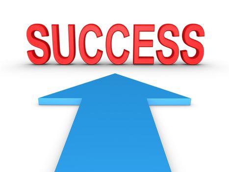 SUCCESS word is in front of arrow