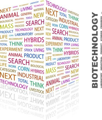 BIOTECHNOLOGY. Concept illustration. Graphic tag collection. Wordcloud collage.
