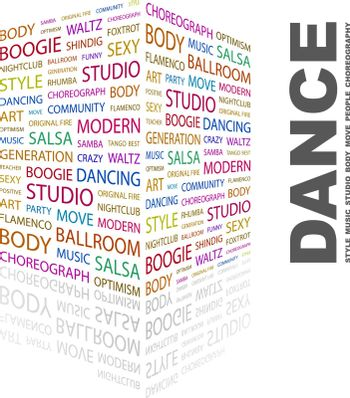 DANCE. Concept illustration. Graphic tag collection. Wordcloud collage.
