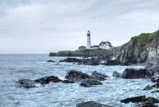 Portland Head Light lighthouse on rugged Maine coast