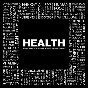 HEALTH. Word cloud concept illustration. Wordcloud collage.