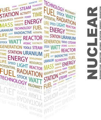 NUCLEAR. Word cloud illustration. Tag cloud concept collage.