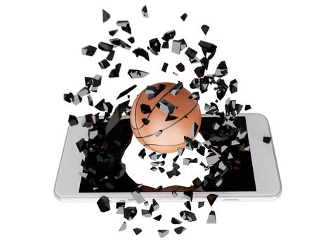 basketball burst out of the smartphone